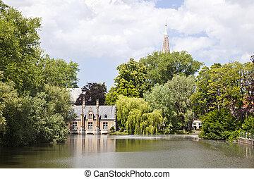 Minnewater In Bruges, Belgium