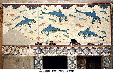 minoan, dauphins, mural, peinture, fresque