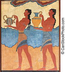 minoan, figures, mural, peinture, fresque