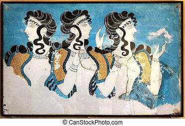 minoan, gemälde, damen, fresko, wandgemälde