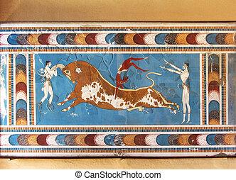 minoan, kämpfer, fresko, wandgemälde, stier