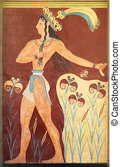 Minoan warrior mural painting fresco
