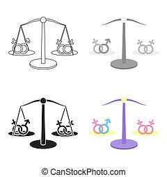 minoría, homosexual, igualdad, alegre, cartoon., grande, ...