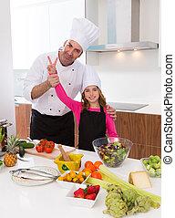 minore, chef, bello, ragazza, e, maestro, insegnante,...