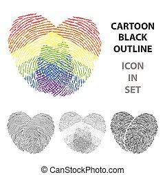 minorité, homosexuel, gay, cartoon., grand, imprimer, unique, icône