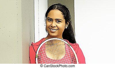 Minority Female Happy Tennis Player