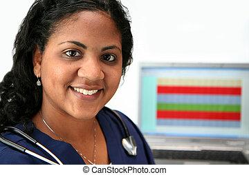 Minority Nurse - Minority nurse set on white background