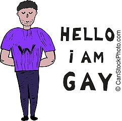 minority., plat, hallo, vector, gay., vrolijk, inscription:, concept., editable, jonge, homosexuality., lgbt, kosten, komst, ik ben, kerel, open, witte , uit., illustration.