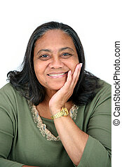 Minority Woman - Minority woman set against a white...