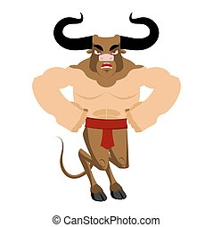 Minotaur Ancient Greek Mythical beast. Monster with bull head