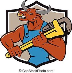 Minotaur Bull Plumber Wrench Crest Cartoon