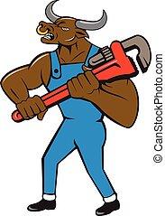 Minotaur Bull Plumber Wrench Isolated Cartoon