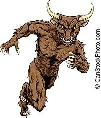 A bull man minotaur character or sports mascot charging, sprinting or running