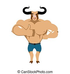 Minotaur Thumb up shows well. Ancient Greek Mythical beast. Monster with bull head