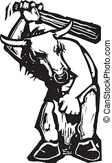 Minotaur - Woodcut style expressionist image of a Greek ...