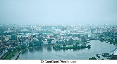 minsk at rainy morning - modern Minsk city, Belarus at rainy...