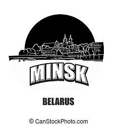 Minsk, Belarus, black and white logo