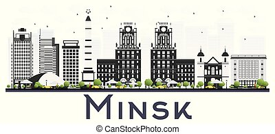 Minsk Belarus City Skyline with Gray Buildings Isolated on White Background.