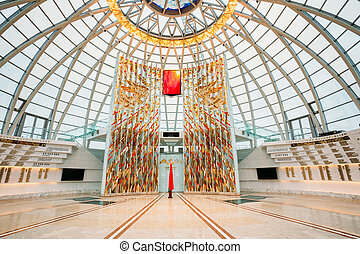 Minsk, Belarus - December 20, 2015: Hall inside dome of the Belarusian Museum Of The Great Patriotic War in Minsk, Belarus