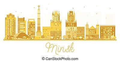 Minsk Belarus skyline golden silhouette.