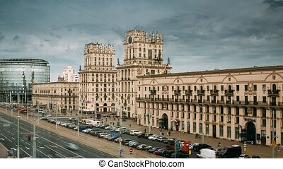 Minsk, Belarus. Two Buildings Towers Symbolizing Gates Of Minsk, Station Square. Crossing The Streets Of Kirova And Bobruyskaya. Soviet Heritage, Urban Style. Famous Landmark. Time Lapse, Time-lapse