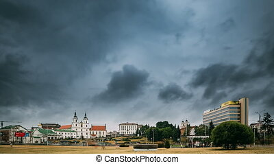 Minsk, Belarus. View Of Cathedral Of Holy Spirit In Minsk. Famous Landmark, Main Orthodox Church Of Belarus. Time Lapse, Timelapse, Time-lapse.