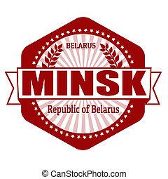 Minsk capital of Belarus label or stamp