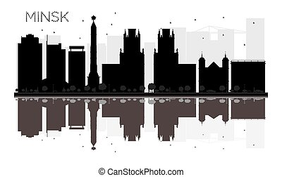 Minsk City skyline black and white silhouette with reflections.