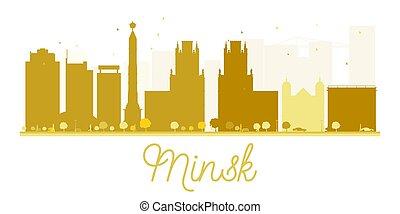 Minsk City skyline golden silhouette.