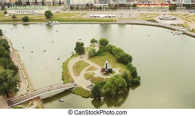 Minsk City Timelapse. monument Island of tears , River...