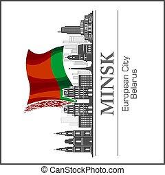 minsk, silhouette., blanco, illustration., negro, -, vector, contorno, belarusian, ciudad