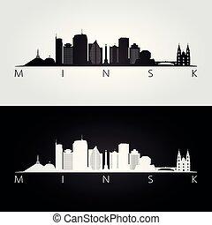 Minsk skyline and landmarks silhouette