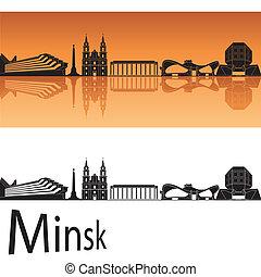 Minsk skyline in orange background