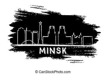 Minsk Skyline Silhouette. Hand Drawn Sketch.
