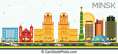 Minsk Skyline with Color Buildings and Blue Sky.