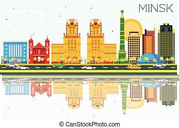 Minsk Skyline with Color Buildings, Blue Sky and Reflections.