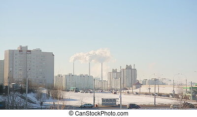 Minsk. winter. The capital of the Republic of Belarus. View of the residential district.