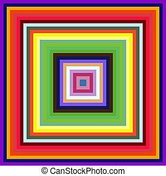 minskande, storlek, färgrik, fyrkant, inramar, abstrakt,...