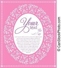 mintás, rózsaszínű, keret, fehér, ovális