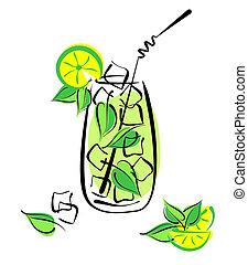 mint., alcool, cocktail, ghiacciato, paglia, vetro, mojito, ...