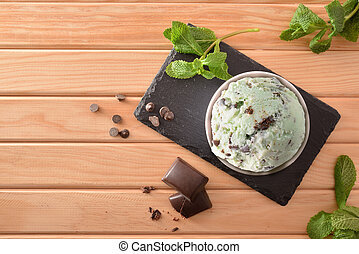 Mint and choco ice cream cup decorated with leaves top