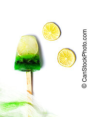 Mint and lemon popsicle ice cream isolated