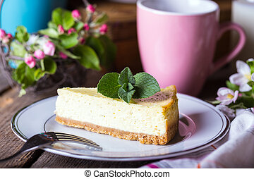 mint cheesecake on a plate