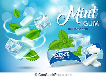 Mint chewing gum ads vector realistic illustration - Vector...