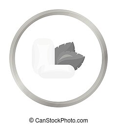 Mint chewing gum icon in monochrome style isolated on white background. Dental care symbol stock vector illustration.