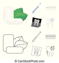 Mint chewing gum with mint leaves, toothbrush with bristles, bregettes with teeth, X-ray of the tooth. Dental care set collection icons in cartoon,outline style vector symbol stock illustration web.