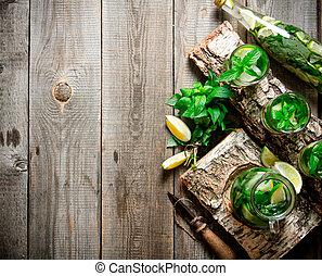 mint., cocktail, espace, bois, texte, chaux, gratuite, stand