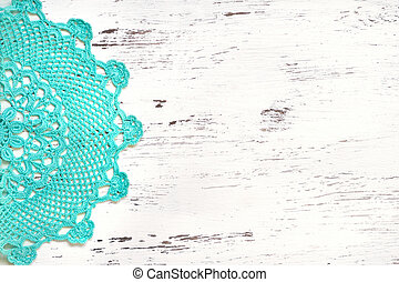 Crochet doily border over shabby chic wood - Mint Crochet...