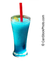 Mint flavored blue juice smoothie with ice, lime - Mint ...