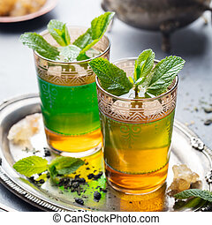 Mint, green tea, Moroccan traditional drink